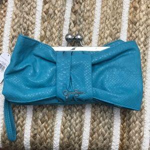 Jessica Simpson turquoise  large wristlet/clutch